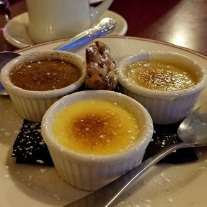 desert trip of creme brule from Noonan's restaurant in newport vt
