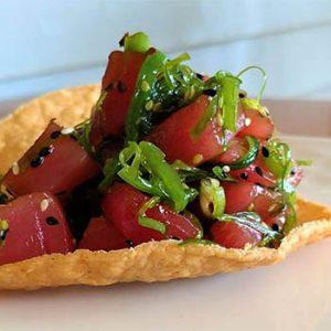 Ahi tuna appetizer from Juniper's Restaurant in Lyndonville Vt