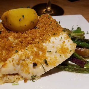 Haddock with garlic Parmesan topping from KT Rays Restaurant in Island Pond
