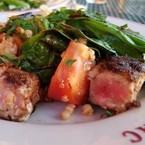 seared ahi tuna cooked with Moroccan Seasoning at Noonan's Supper CLub restaurant in Newport VT