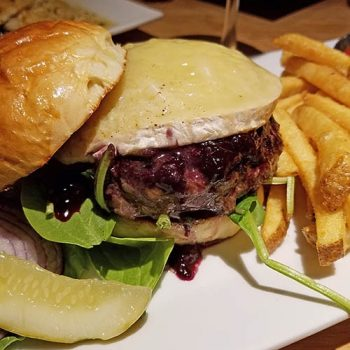 Delicious burger with blueberry and brie from Island Pond, VT restaurant