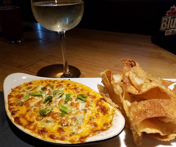 House made Buffalo Dip with crispy wontons from KT Rays restaurant in Island Pond Vermont