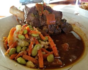 Braised lamb and vegetables from Le Belvedere in Newport Vermont