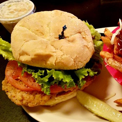 Chicken Burger at snack bar in Newport Center, Vermont