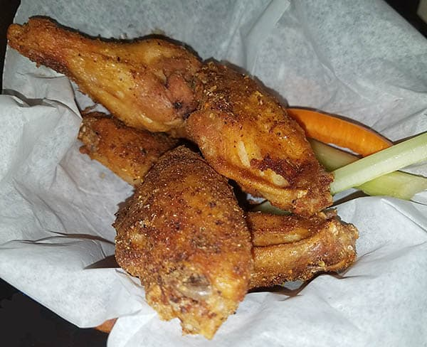 fried chicken wings in 4 flavors at Good Fella's bar in Danville, Vt