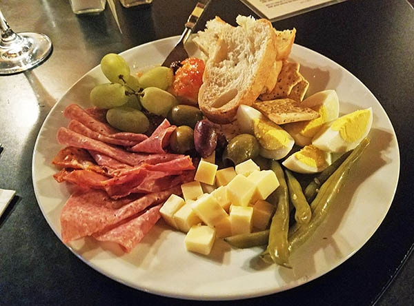 meat and cheese plate at restaurant in Danville, Vt