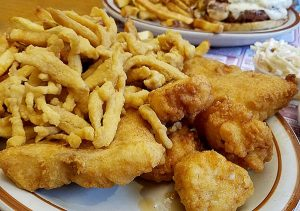 fried seafood platter from Anthony's Dinner in Saint Johnsbury