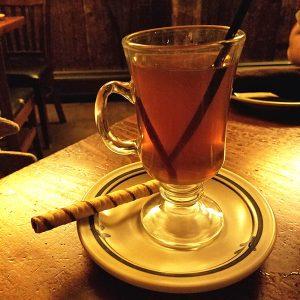 hot apple cider cocktail from jay village inn restaurant jay vt