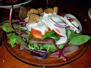 dinner salad from jay village inn restaurant in jay vt