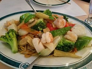seafood lo mein from New Century Chinese Restaurant in St. Johnsbury, Vermont