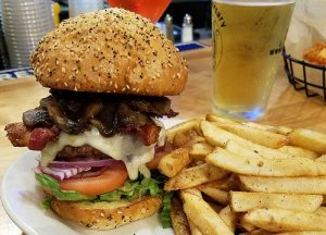 towering burger at Orleans, VT restaurant