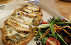 pesto chicken flatbread pizza from Orleans Country Club restaurant in Orleans VT