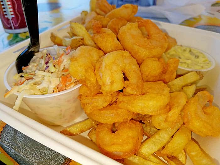 fried shrimp dinner from the Copper Plate food truck in Barton VT