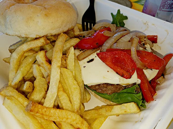 burger with peppers and onions from the Copper Plate restaurant in Barton, VT