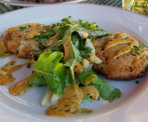 large crab cakes from restaurant in Newport VT