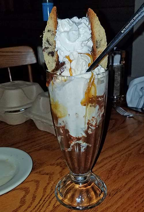 dessert sundae with cookies and fudge from Juniper's Restaurant in Lyndonville VT