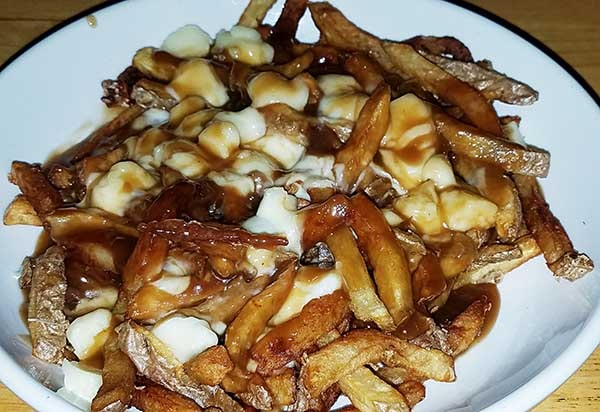 Poutine, fries covered in gravy and cheese curd, from the Gap restaurant in Westmore VT