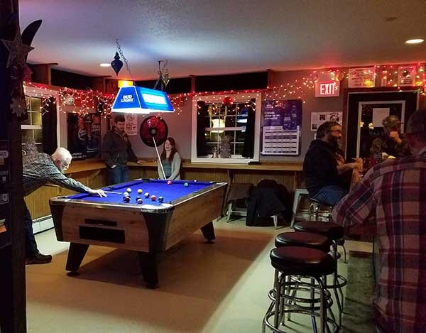 Pool table and bar area at the Gap restaurant in Westmore Vt