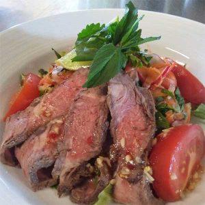 steak strip dinner with tomatoes from Hardwick, vt restaurant
