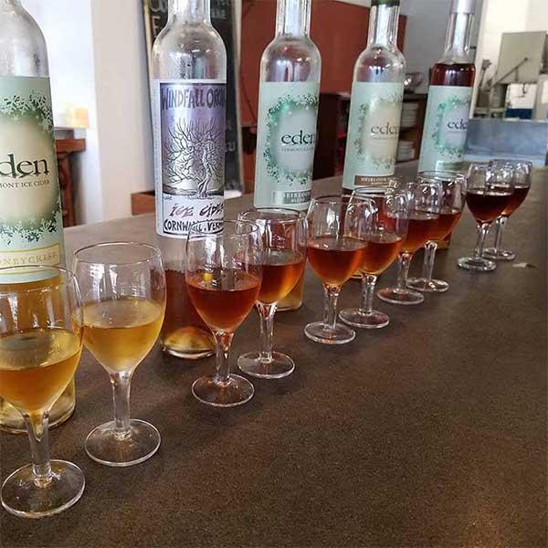 flight of ice cider from Eden Hill for wine tasting Newport VT