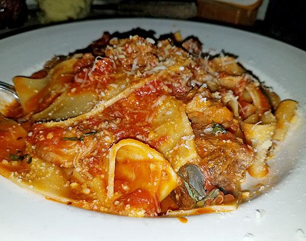 wild boar papperdella pasta from Lago's Restaurant Newport VT