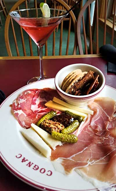 cheese and salami plate with pickles and crackers from Noonan's Supper Club
