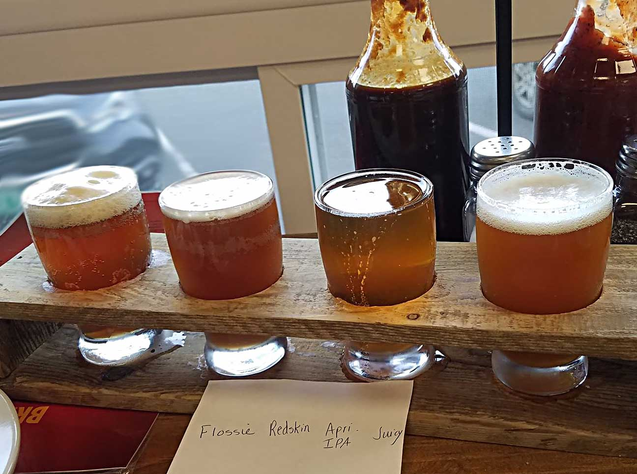Flight of Micro Brews from Goob's Brewery Derby Line Vt