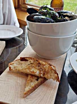 Mussels and toasted bread as a appetizer from the Hardwick Street Cafe in Greensboro VT
