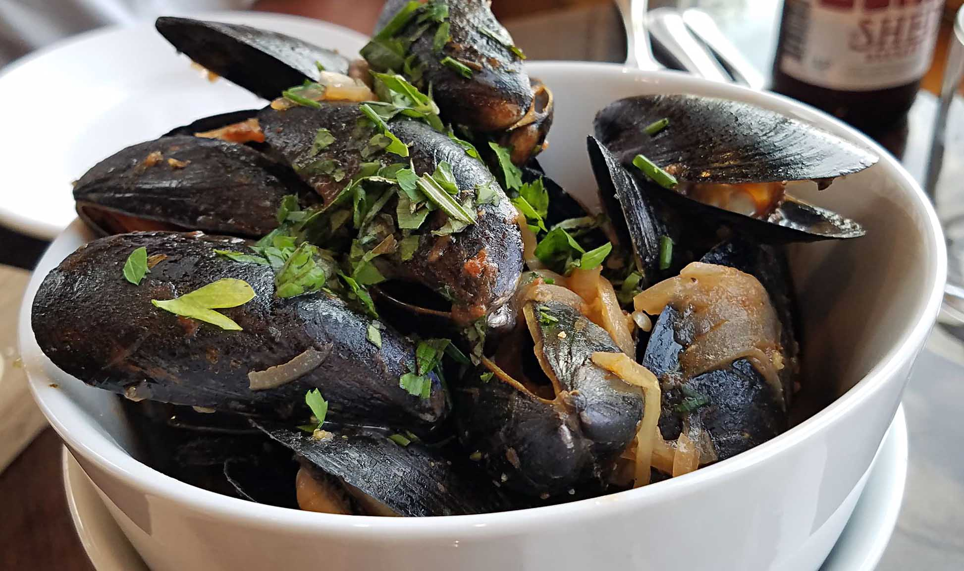 a bowl filled with mussels in a white wine butter sauce from a restaurant in greensboro vt