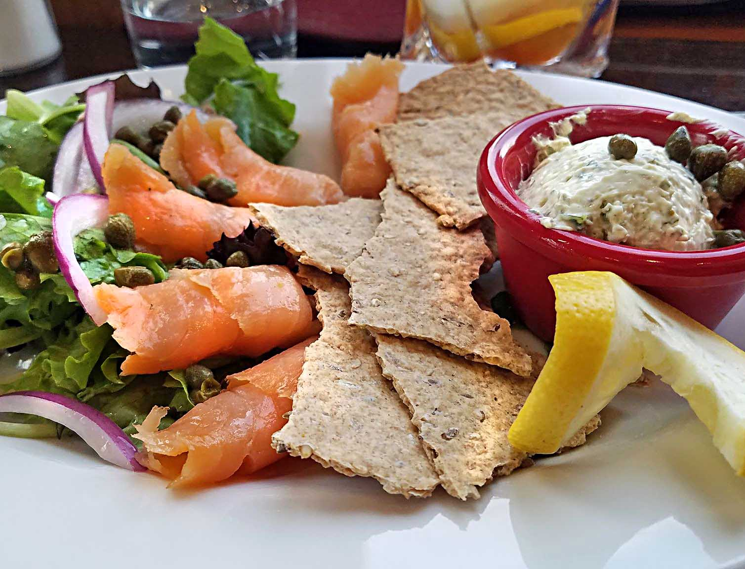 smoked salmon served with crackers and soft cheese at the Hardwick Street Cafe in Greensboro vt